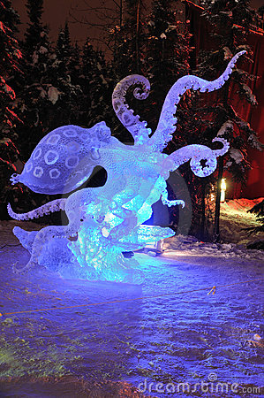 Blue Ring Octopus  Ice Sculpture Editorial Photo