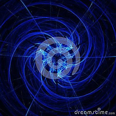 Blue rings spiral dance