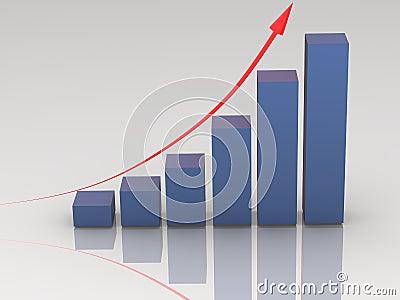 Blue rising bar chart on white