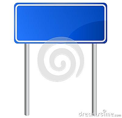 Blue road information sign