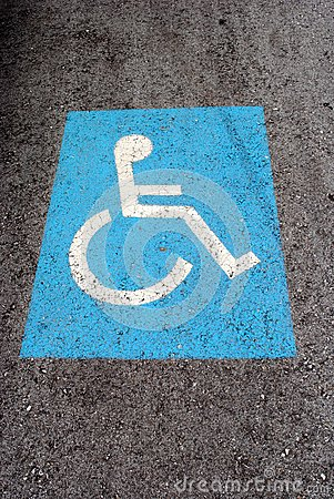 Blue road marking for disabled