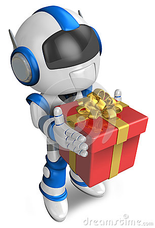 Blue robot holding a gift faintheartedly