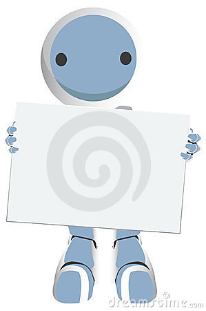 Blue Robot Holding Sign Like Giant Business Card