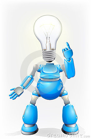 Blue robot light bulb head