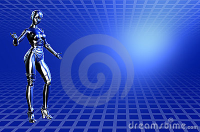Blue Robot Technical background - with clipping path