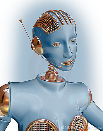 Blue robot woman wearing  headset