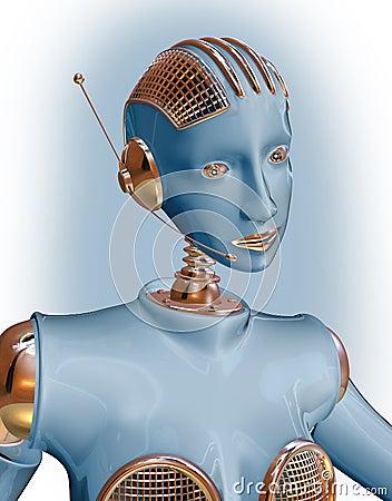 Blue robot woman wearing  headset
