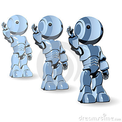 Blue robots with arm raised