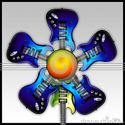Blue Rock Guitar Flower