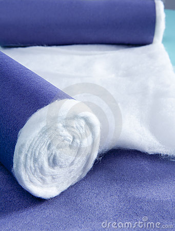 Blue rolled medical cotton