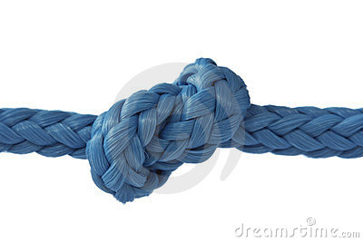 Blue rope with knot