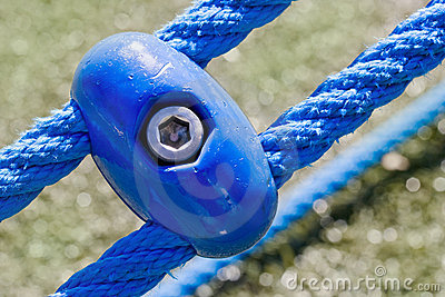 Blue ropes and connecting links closeup