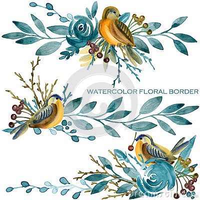Free Blue Rose With Cute Bird Border. Watercolor Illustration Royalty Free Stock Photo - 92313315