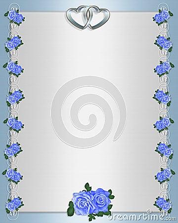 Blue Roses Formal invitation satin