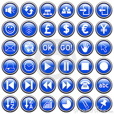 Blue Round Web Buttons [3]