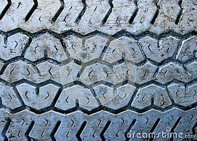 Blue rubber v-shape tread