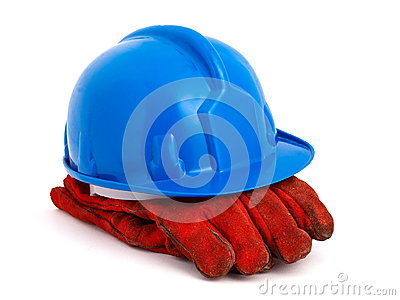 Blue safety helmet and red gloves