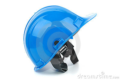 Blue safety helmet on the white background