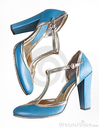 Free Blue Sandals With High Heels Stock Image - 12885261