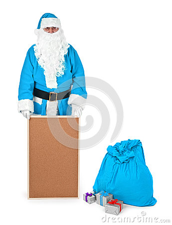 Blue santa claus shows empty bulletin board