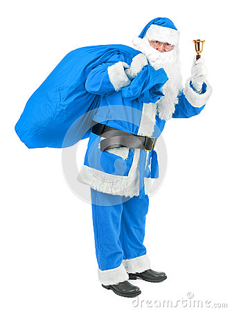 Free Blue Santa Claus With Bell On White Stock Photos - 35235273