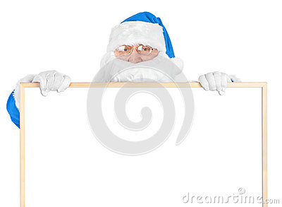 Blue Santa and empty white board