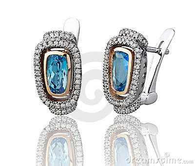 Blue sapphire earring isolated