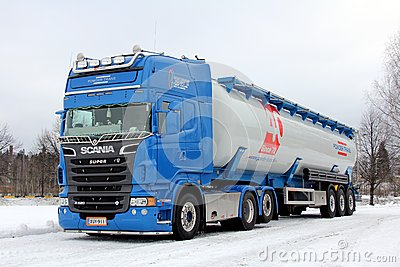 Blue Scania Dry Bulk Semi Trailer Combination Rig Editorial Stock Photo