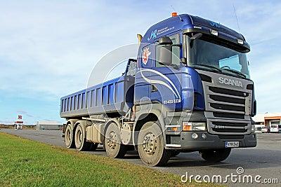 Blue Scania Heavy Duty Truck on a parking lot