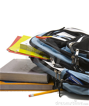 Free Blue School Back Pack Full Of School Supplies With School Books Royalty Free Stock Images - 1170369