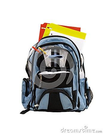 Blue School Back Pack full of school supplies