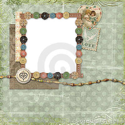 Blue Scrapbook layout with vintage embellishments