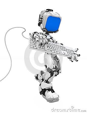 Free Blue Screen Robot, Keyboard Strum Stock Photos - 12144573