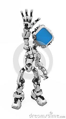 Blue Screen Robot, Waving