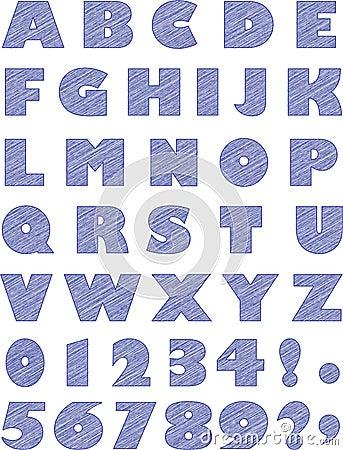Blue Scribble Alphabet