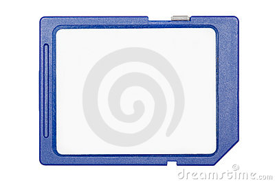 Blue SD memory card isolated on white background