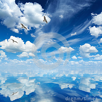 Free Blue Sea And Sky, White Clouds, Sunny Weather, Three Seagulls Fl Royalty Free Stock Photography - 88753437
