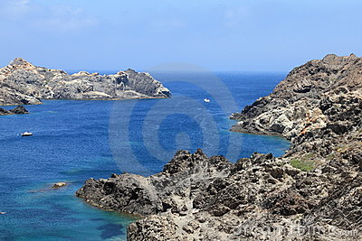 Blue sea and rocky coastline
