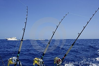 Blue sea and sky in a big game tuna fishing day