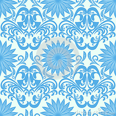 Blue seamless floral damask Wallpaper