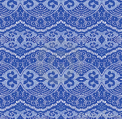 Blue seamless lace fabric