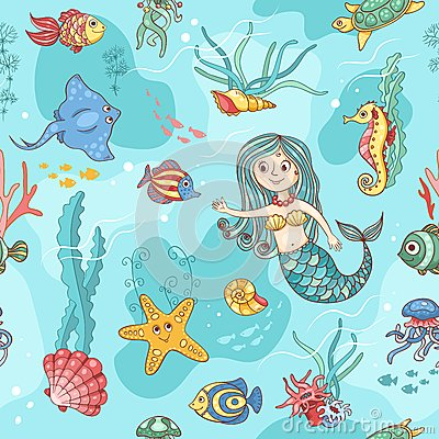 Blue seamless pattern with mermaid