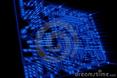 Blue see throught circuit board with light rays