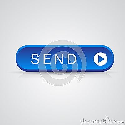 Blue send button, mail mesage vector