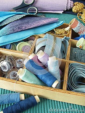 Blue sewing utensils