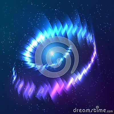 Blue shining cosmic neon light twirl
