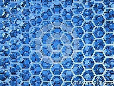 Blue Shining Honeycomb Layers Pattern Royalty Free Stock ...