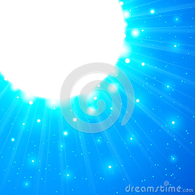 Blue shining vector sun with flares