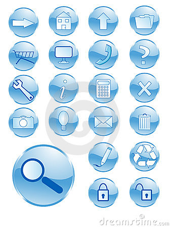Free Blue Shiny Buttons Royalty Free Stock Photos - 4694118