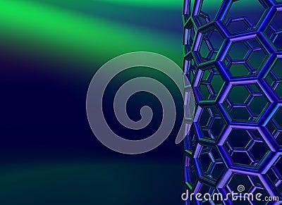 Blue shiny carbon nanotube on dark blue background